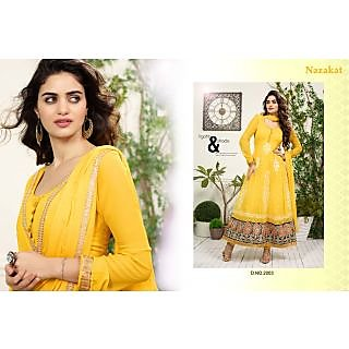 Ghunghat Designer Embrodered Semi-Stitched Anarkali Suit Yellow
