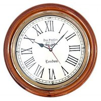 Antique Brass And Wooden Wall Clock