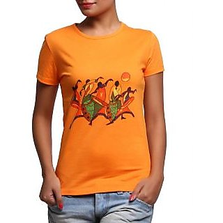 Women - Tshirt - Ladies - Round Neck - Casual Wear - Orange - Cotton - Tribal