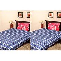 Handloom World  Combo Of Blue Blankets