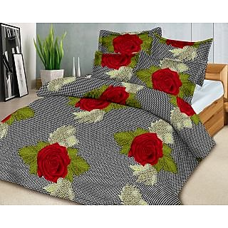 Homefab India 100 cotton Double Bed Sheet With 2 Pillow Covers (DBS095) MAR