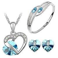 Cyan Heart Shape Austrian Crystal Rhodium Plated Jewelry Set And Bracelet Combo