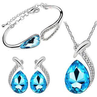 Online cyan blue angel teardrop crystal pendant set and bracelet cyan blue angel teardrop crystal pendant set and bracelet combo aloadofball Image collections