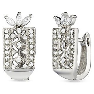 Mahi Rhodium Plated Enchanting Bloom Huggies Hoops Earrings With Cz For Women Er1100942R