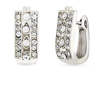 Mahi Rhodium Plated Geometric Love Huggies Hoops Earrings With Cz For Women Er1101635R