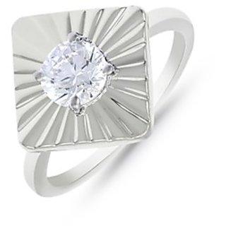 Mahi Rhodium Plated Square Shine Fingerring Made With Swarovski Zirconia For Women Fr1105011R