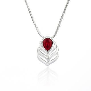 Mahi Rhodium Plated Red Drop Peacock Feather Pendant Made With Swarovski Elements For Women Ps1194108R