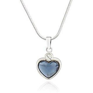 Mahi Rhodium Plated Montana Blue Heart Pendant Made With Swarovski Elements For Women Ps1194109R