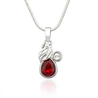 Mahi Rhodium Plated Red Marquise Peacock Pendant Made With Swarovski Elements For Women Ps1194114R