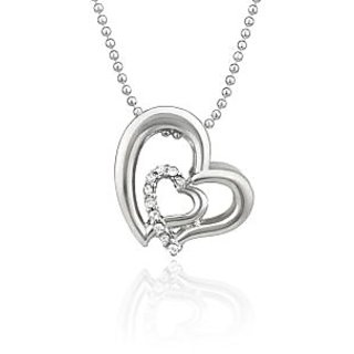 Mahi Rhodium Plated White Heart Pendant Made With Swarovski Elements For Women Ps1194117R