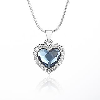 Mahi Rhodium Plated Montana Blue Titanic Heart Pendant Made With Swarovski Elements For Women Ps1194118R