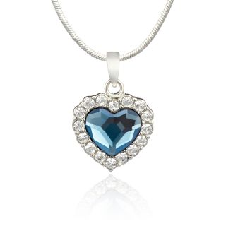Mahi Rhodium Plated Montana Blue Titanic Heart Pendant Made With Swarovski Elements For Women Ps1194119R