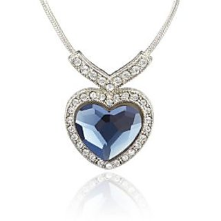 Mahi Rhodium Plated Montana Blue Titanic Heart Pendant Made With  Elements For Women Ps1194121Rblu