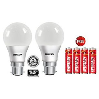 Eveready 7W White Led Bulb Set Of 2 With Free battery