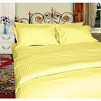 Just Linen Supersoft Pencil Stripe Micro Fabric Reversible Lemon Chiffon King Size AC Comforter
