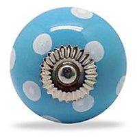 Casa Decor Ceramic Polka Dot Knobs Blue White (Set Of 4)