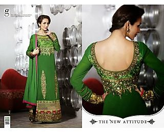 Beautiful stunning green Georgette Embroidered streight Suit