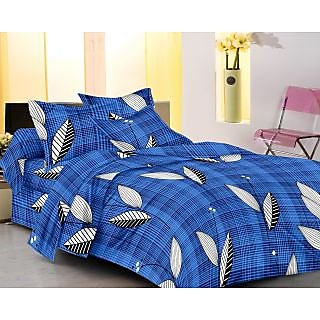 Homefab India 100 cotton Blue Double Bed Sheet With 2 Pillow Covers (DBS099)