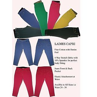 4 way Knitted Colored Capri