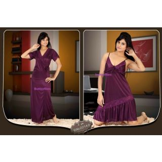 2014D Hot Sleep Wear 2pc Babydoll & Over Coat Dark Wine Night and Robe Set Bed