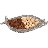 Fish Dry Fruit Glass Decorative Platter(Silver)