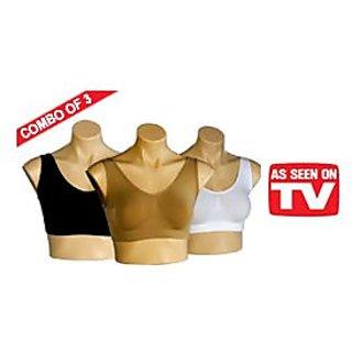 Original Seamless Aire Bra  - 3 pc - Black,Skin & White - FreeSize