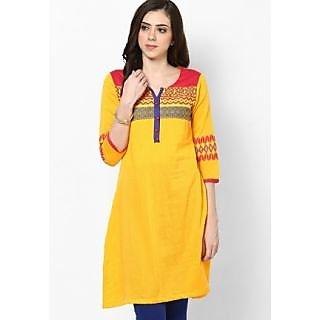 Ladies Beautiful Designer Cotton Kurti Yellow