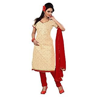 Florence Beige CHANDNI Embroidered Chanderi Cotton Suit