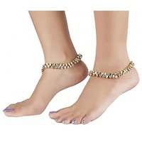 The Jewelbox Antique Traditional Twin Layer Kundan Look Payal Anklet Pair