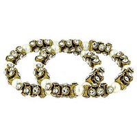 The Jewelbox Antique Pearl Cz Gold Plated Stretchable Payal Anklet Pair