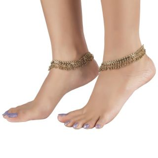 The Jewelbox Antique Finish Traditional Gold Plated Payal Anklet Pair 28Cm