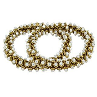 The Jewelbox Antique Pearl 3D Gold Plated Stretchable Light Wt Payal Anklet Pair