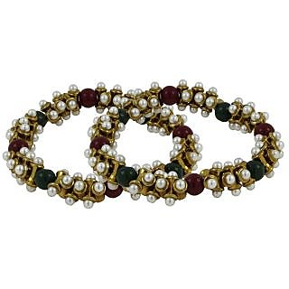 The Jewelbox Antique Pearl Red Black Gold Plated Stretchable Payal Anklet Pair