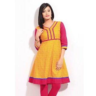 Ladies Beautiful Designer Cotton Printed Kurti Orange And Yellow