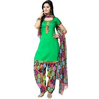 Suchi Fashion Green and Geometric Print Daily Wear Patiala Suit Dress Material