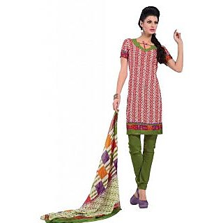 Suchi Fashion Red & White Printed and Green Daily Wear Suit Dress Material (Unstitched)