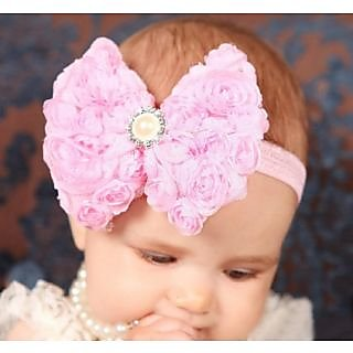 Pink  Blue India Beautiful Pink Rose Headband with Lovely Pearl