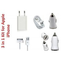 3 In 1 Travel Charger Kit For Apple IPhone 3G 3gs 4G 4s IPod
