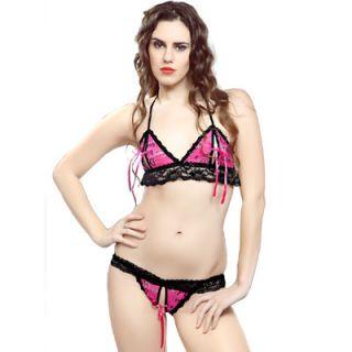 8f406f801dbe0 Buy Hot Fun Lingerie Set 2pc Bra   Panty Bed Bikini Sleep Wear Night Wet  Pink Shiny Online- Shopclues.com