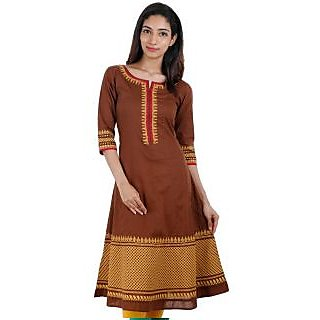 Elegant Printed Cotton Anarkali Kurti Brown And Yellow