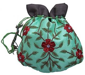 Handmade Zari Beaded Ladies Potli Bags Green