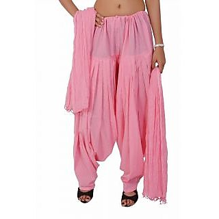 Pink Semi Cotton Patiala Pants With Dupatta