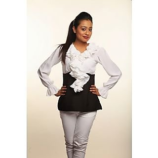Athena Black-White Ruffled Top