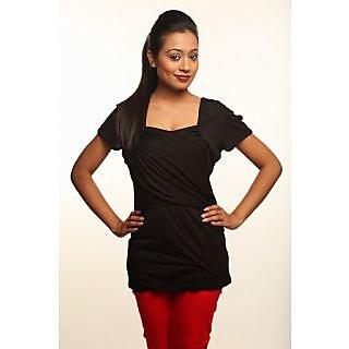 Athena Short Sleeve Solid Black Top