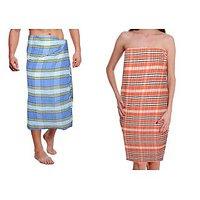 HandloomWala Set Of 2 100% Cotton Linen Bath Towels