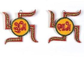 Handicraft Kundan Swastik Shape ShubhLabh Door Hanging