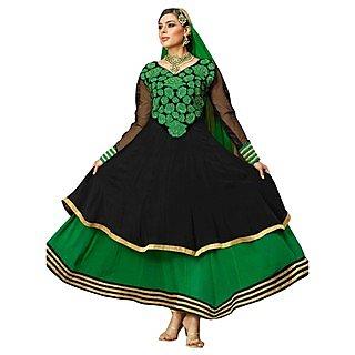 First Loot Trendy Floral Applique Duallayer Kalidar Suit