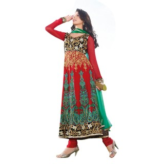 First Loot Red Intricate Thread Embroidery Anarkali Suit