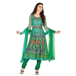 First Loot Green Net Chiffon Embroidered Salwar Suit
