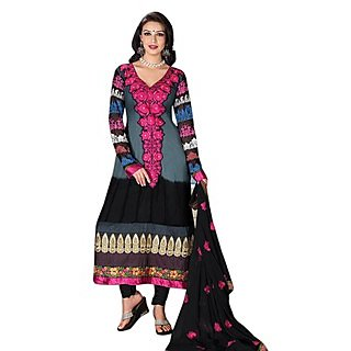 First Loot Stylish Neck Embroidery Georgette Salwar Suit